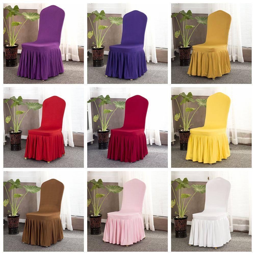 Cubierta de la silla falda banquete de la boda del estilo de la silla silla Protector Funda decoración falda plisada elástico Spandex Cubiertas Cubiertas Sillas LJJA3055