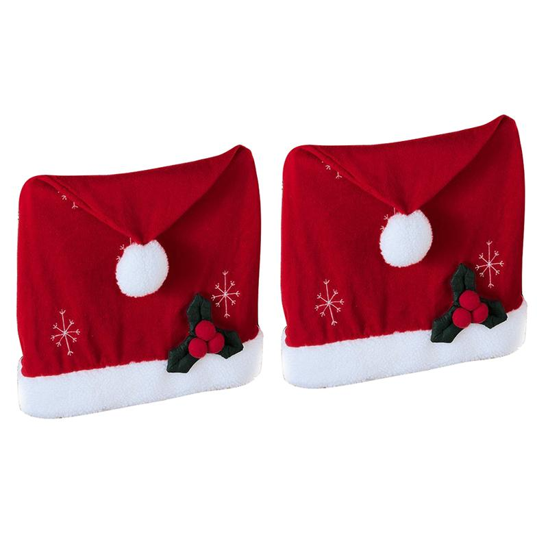 New-Santa Hat Christmas Chair Covers - Set Of 2 By Collections Etc