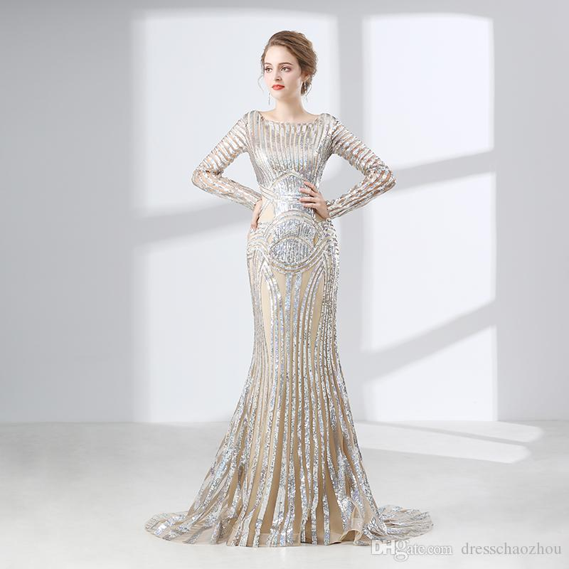 Sparkling Long-Sleeved Mermaid Prom Dresses Embroidery Lace Illusion Spoon Formal Evening Dress Celebrity Dress Special Occasion Dress