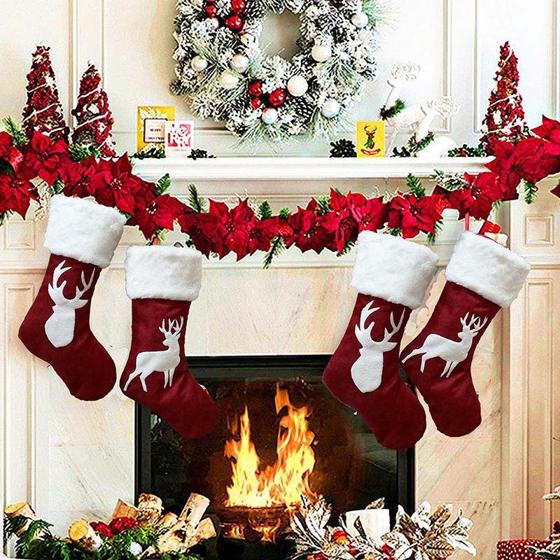 2019 Comercio al por mayor colgante de la Navidad Navidad calcetines de Navidad Bolsa de regalo de diseños grandes ciervos de Navidad Calcetines decorativos libre de la UPS