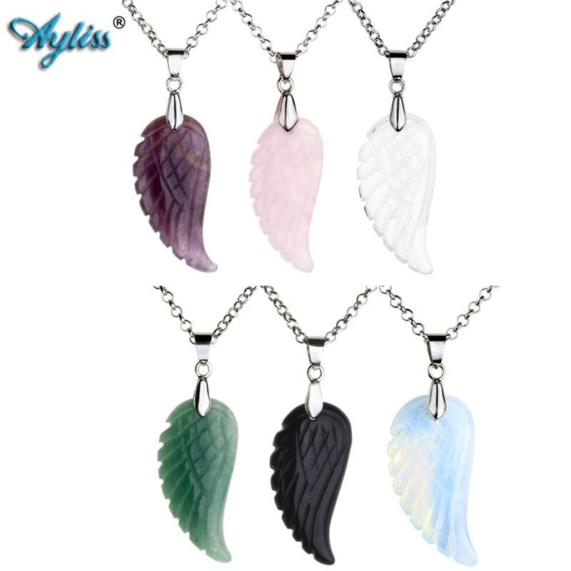 Ayliss Hot Wholesale Angel Wings Natural Pink/Purple/Tiger Eye/Obsidian Gem Stone Bead Pendant Necklace Jewelry 6pcs/12pcs