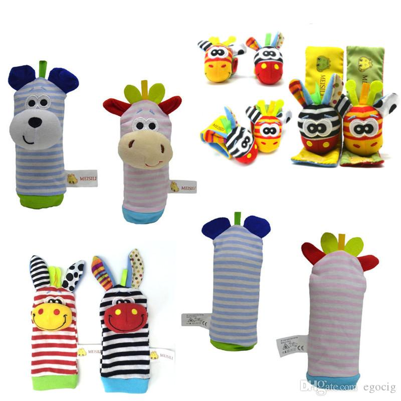 Babys toy Wrist rattle & foot finder Baby toys Set Baby Rattle Socks Lamaze Plush Wrist Rattle+Foot baby Socks 1set=2pcs wrist and 2pcs sock