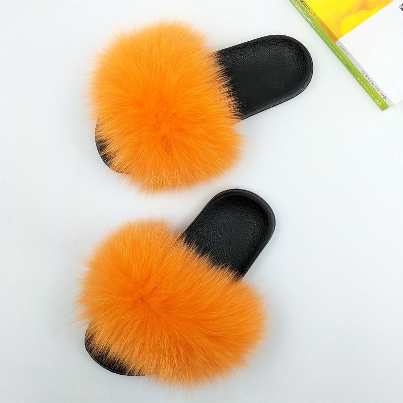Mujeres Fluffy zapatillas de mujer de marca de moda de piel de zorro Diapositivas antideslizante Piel real zapatillas felpa linda mujer peludo