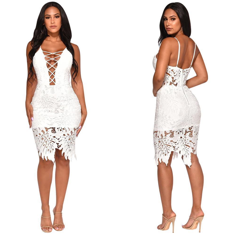 Open Back Zipper Vestito irregolare sexy Summer Hollow Lace Patchwork Vestito sottile per la vendita calda del partito Sundress senza maniche Colore bianco