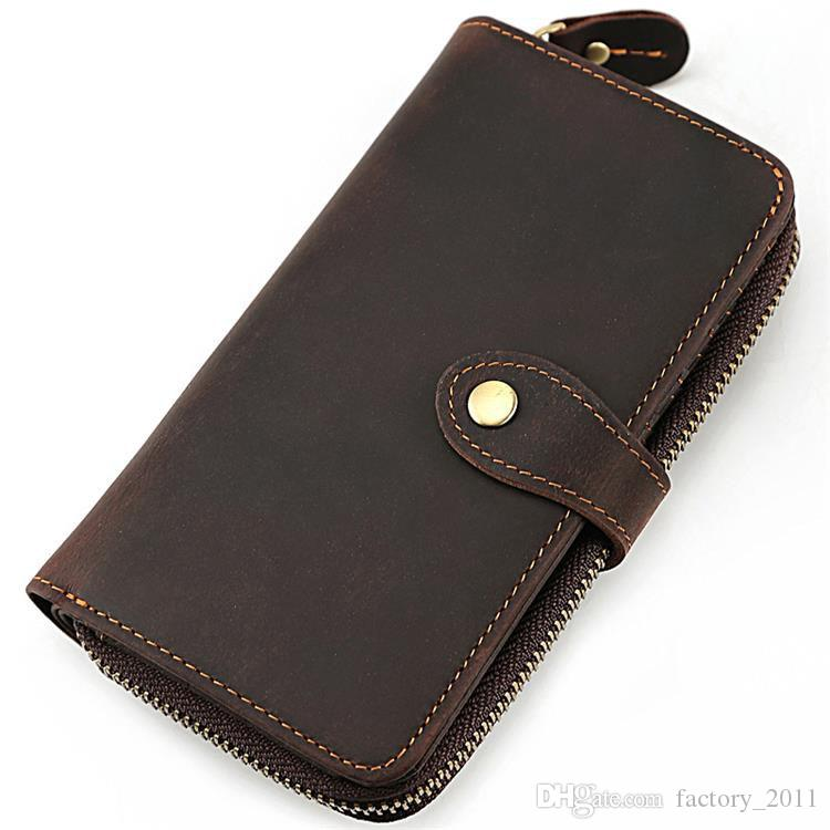 High Quality Dark Brown Cow Leather Long Wallet For Men Large Leather Wallets Money Clip Long Purse