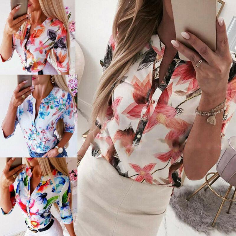 Mujeres Long media manga floja camisa camisas OL vestido de paisano botón casual blusa de señora de la oficina gasa del verano camisas