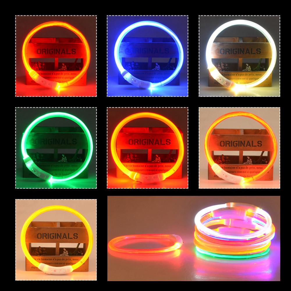 Simple Waterproof Rechargeable USB LED Flashing Light Band Belt Safety Pet Dog Puppy Collar Colorful puppy dog collar and lead