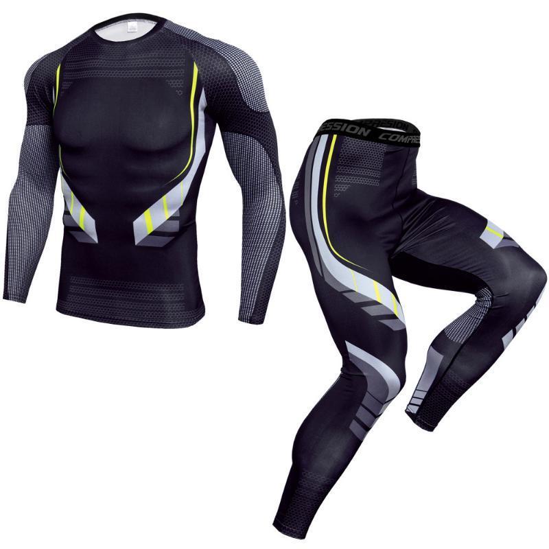 Sıkıştırma Spor Giyim Erkek Hızlı kuru Spor Koşu Gömlek Tayt Eğitim Suit En sporu 2 parça Eşofman Erkekler rashgard