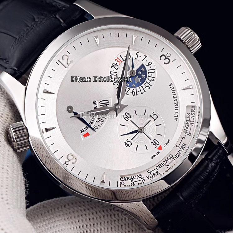 Новый Master Control World Geographic Q1508420 Q1528420 Белый циферблат Автоматические мужские часы Moon Phase Power Reserve Стальной корпус Кожаные часы.