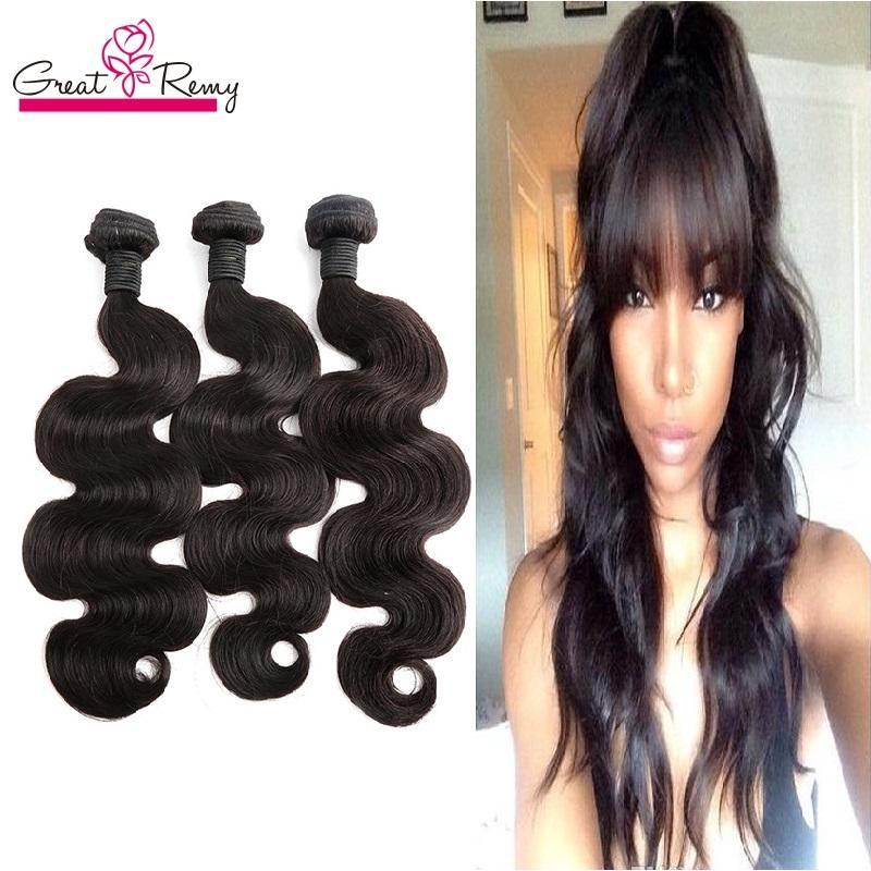 Greatremy® 100% obearbetade brasilianska mänskliga hårbuntar Naturlig färg Vågig kroppsvåg Brasilianska VirginHair Weft Extensions 3pcs / mycket färgbar