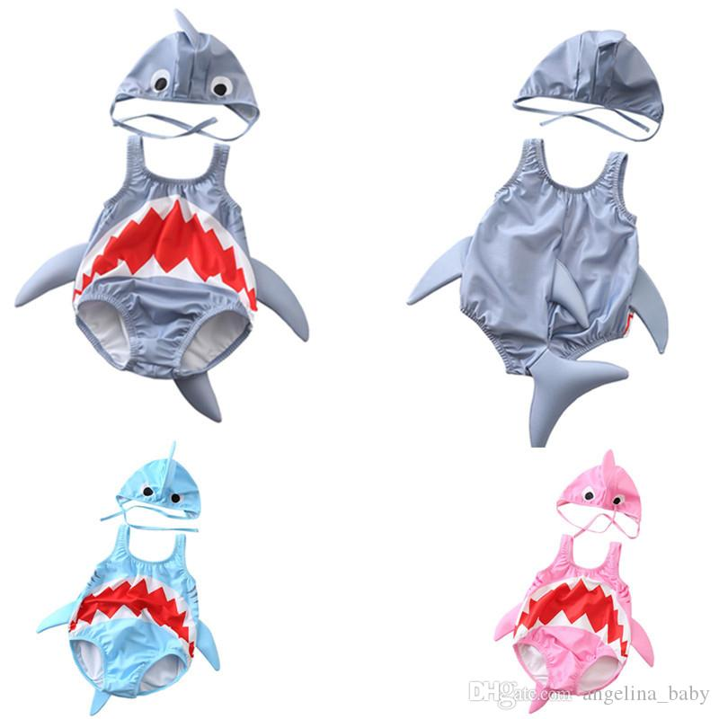 Infant 3D Shark Babies Swimwear With CapsToddler cute bathing suit newborn baby gifts animal style swimsuit high quality Z11