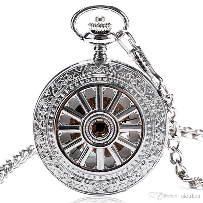 Retro nero / argento / oro giallo Hollow caso su scheletro handwinding orologio da tasca meccanici per il regalo Chain degli uomini FOB pendente delle donne