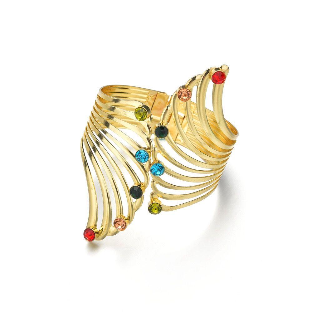 Mode US Européenne évider Ailes Bracelets pour Femmes Filles Coloré Cristal Strass Encadré Or Couleur Cadeau Bracelets Bracelet Bijoux