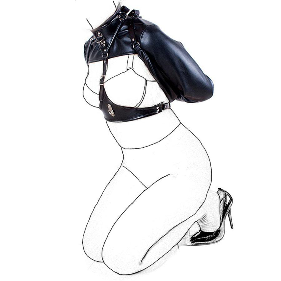 Leder Cupless Jacke mit langen Ärmeln Gerade, reizvolle Wäsche, Open Cup BH-Gürtel Zwangsjacke, Rollenspiel Sexspielzeuge T200410