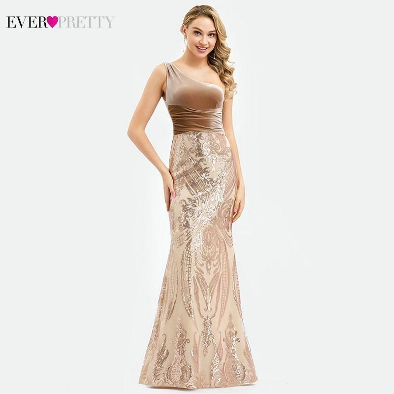 Ever Pretty Rose Gold Prom Dresses Long One Shoulder Sequined Elegant Formal Party Gowns Sexy Mermaid Dresses Gala Jurken 2019