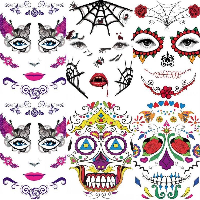Halloween Face Tattoo Sticker Undead Festival Tattoos Stickers Ghost Festivals Multi Styles Facial Part Paster New Arrival 1ws L