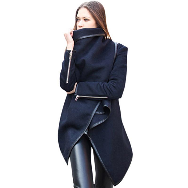 2019 جديد أزياء المرأة غير المتماثلة معطف الخريف سترة رقيقة الإناث مزاجه معطف فضفاض طويل المعطف قميص