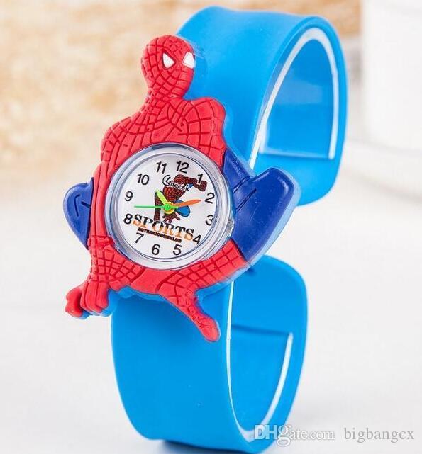 Çocuklar saatler Karikatür hayvan okyanus Örümcek-Adam araba Prenses tokat çocuklar bebek kız erkek kol saati silikon karikatür jöle spor hediye izle