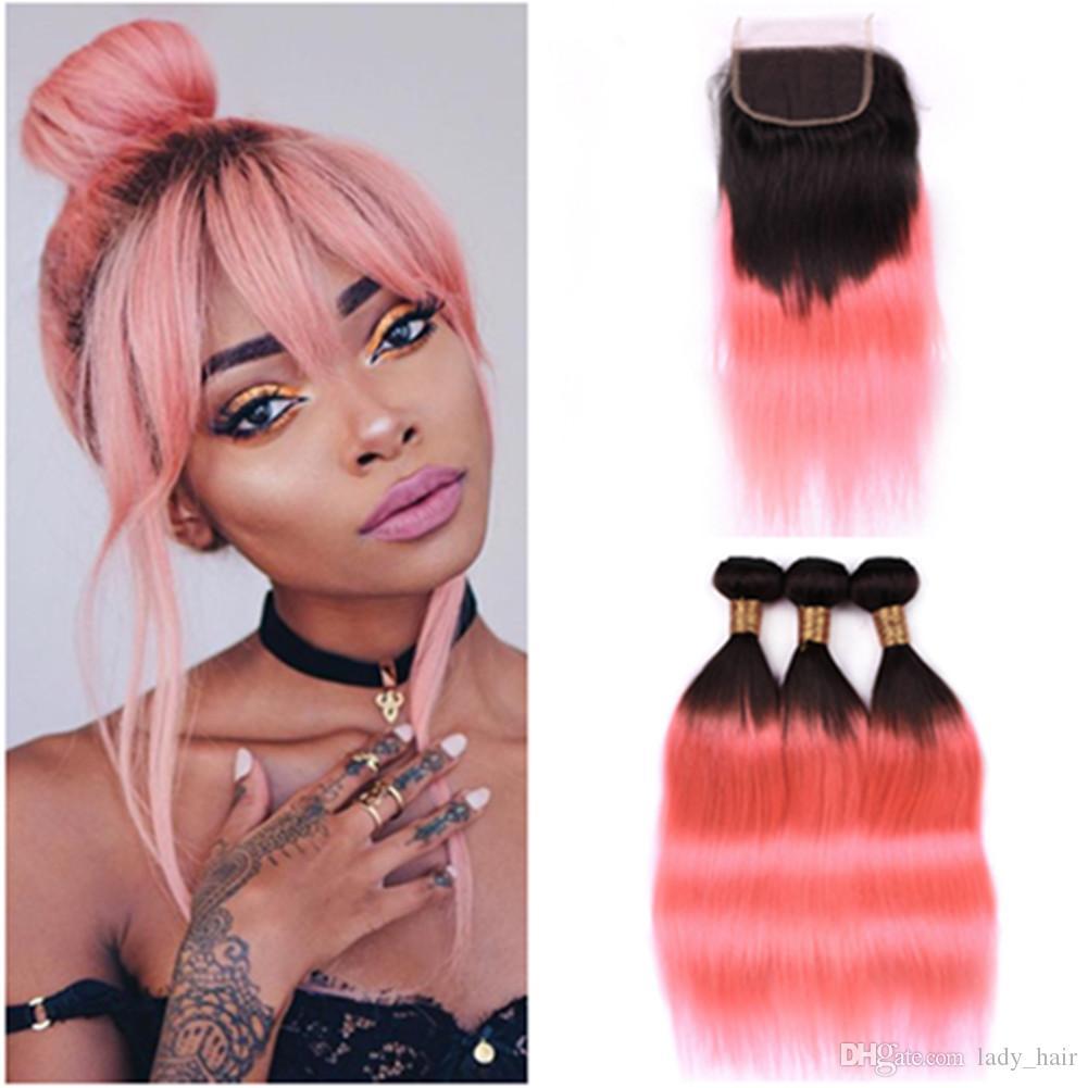# 1B / Розовое золото Ombre Прямые человеческие волосы 3 пучки и закрытие
