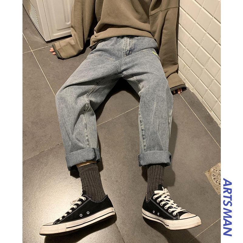 Men's Jeans Ins Hop Korean Bag Jogging Street Sports Mens For Hombre Blue Nine Pants Casual Cotton Soft Large Size Men