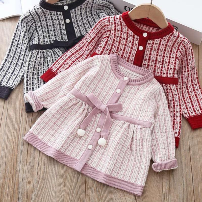 2020 Outono Inverno Meninas Princess Dress Crianças Crianças bebê Crianças Plaided Knitting Cardigan manga comprida Tricô Vestidos S11011