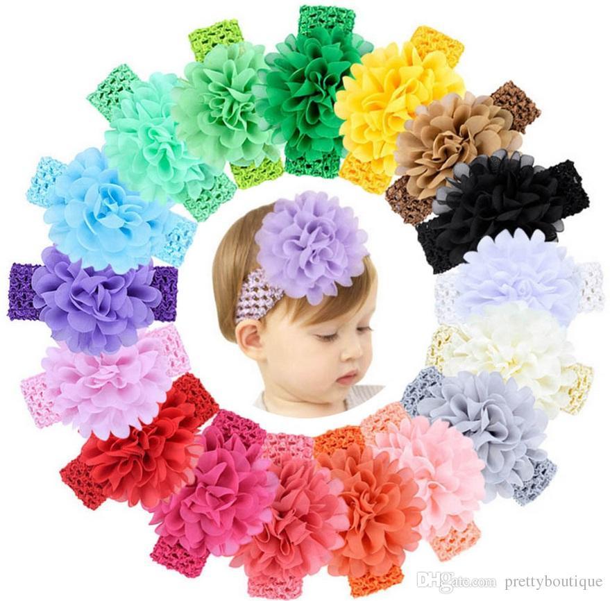 Hair Accessories Head Wrap Girls Childrens 4.3 Inch Chiffon flower with soft Elastic crochet headbands stretchy hair band 922