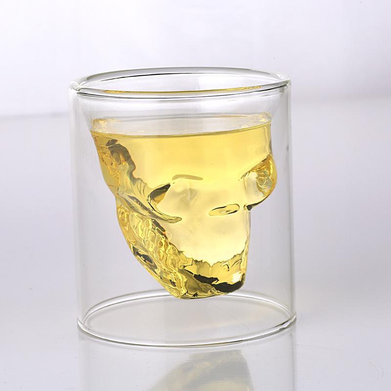 Yenilikçi Bardaklar 25ml-250ml Çift Duvar Kafatası İskeleti Whisky Bar şarap Cam Kupa Kristal Kafatası Votka Shot Şarap Glass gözlük