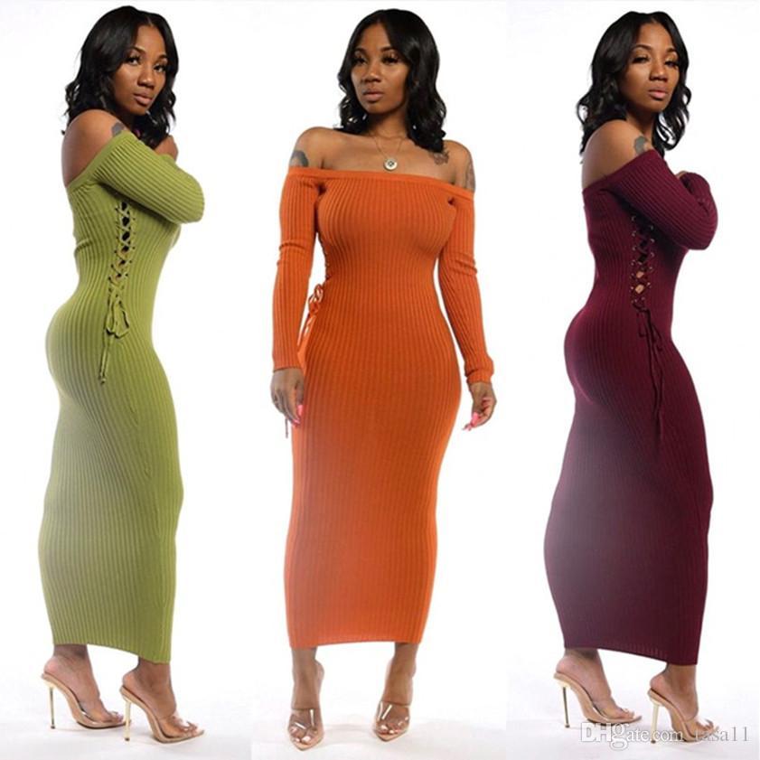 Женщины эластичная свитер цельного платья вязать юбка мода с плечом юбки Casual пакета бедро юбки сексуального без бретелек клуба вечернего платья 2290
