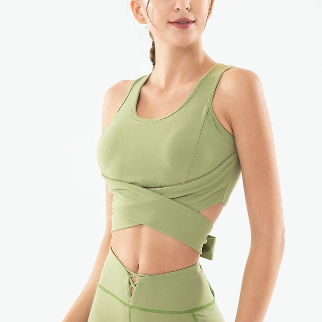 worldkick2018 respirável Mulheres torção Frente recorte Voltar bowknot Yoga Gym Fitness Sports Bra desgaste ativo