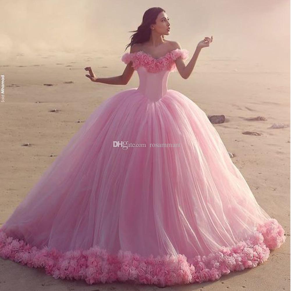 Mais novo vestido de casamento floral vestido de bola rosa vestidos de nupcial fora do ombro vestidos de quinceanera feito sob encomenda