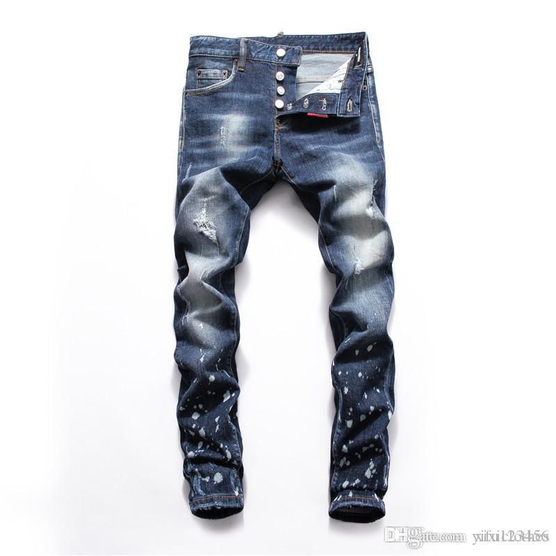 2020 moda hombre de los vaqueros de los hombres delgados de los pantalones ocasionales de luz agujero azul Hip Hop pantalones vaqueros de mezclilla marca de diseño de diseñador vierten Hommes