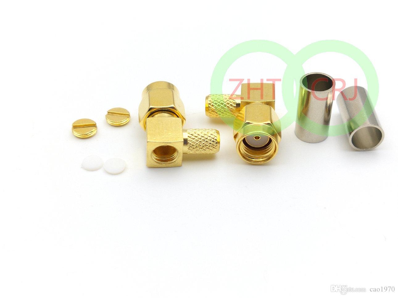100 قطع الذهب RP-SMA ذكر جاك مركز زاوية الحق تجعيد RG58 RG142 LMR195 RF