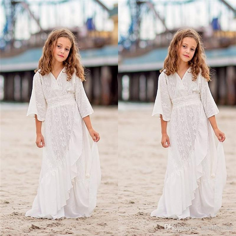 Branco V-neck Chiffon Meninas Vestidos Para Casamento Meninas Pageant Vestidos formal Vestidos vestidos de noiva