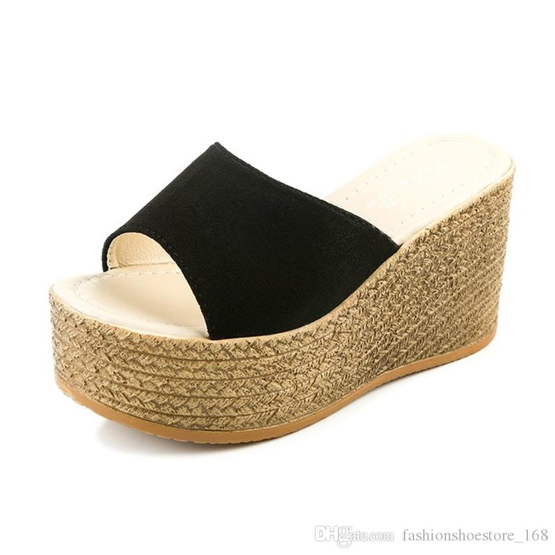 New 2019 Female Wedges Sandals Wild Suede High Heels Wedges Thick Bottom Non-slip Slippers Flip Flops Women Shoes Simple Fashion GFV-BG