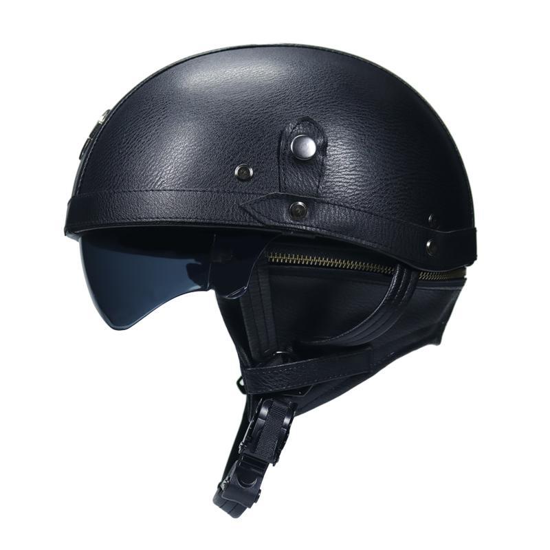دراجة نارية دراجة نارية رايدر نصف المفتوحة الوجه PU جلد الخوذة مع عدسة مزدوجة فيسبا DOT