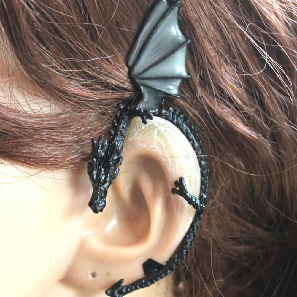 1 قطعة المرأة أقراط الشرير مضيئة التنين شكل كليب أقراط الأذن الكفة كليب القرط لا ثقب المجوهرات جديد
