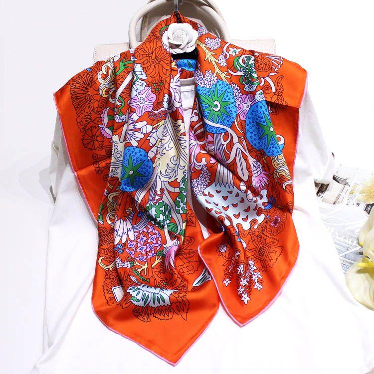 2019 luxe foulards d'impression florale 90 * 90cm foulards et châles en soie véritable Wraps hijabs bandeau serre-tête foulard foulard pour femme pashmina pure soie S