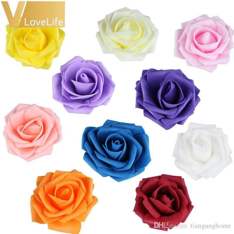 High Quality100pcs /Lot 7cm Pe Foam Rose Flower Heads Silk Artificial Rose Flowers Head Bouquet Handmade Wedding Home Decoration Festive
