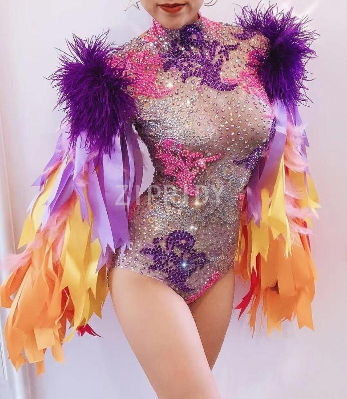 다채로운 전체 모조 다이아몬드 깃털 리본 bodysuit 생일 축하 댄스 파티 댄스 복장 저녁 여성 가수 의상