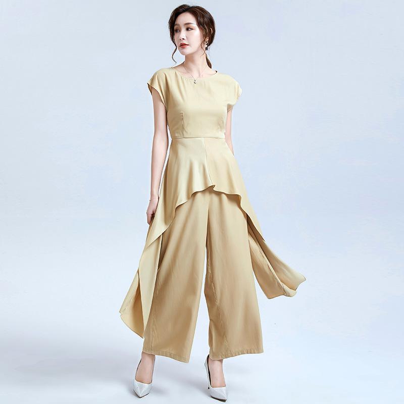desgaste 2020 das mulheres sem mangas irregular colar Falbala terno de calças de cintura altas calças largas patas de duas peças roupa