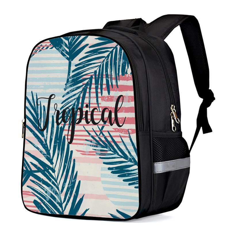 Summer Colored Tropical Leaves Text Backpack Kids School Bags Men Women Travel Backpacks for Teenage Girls Boys