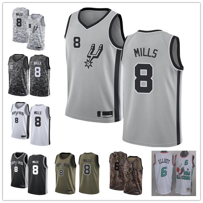 donne degli uomini su misura san antonioSpurs6 Sean Elliott 8 Patty Mills nero grigio ritorno al passato di pallacanestro Editionnbamaglia