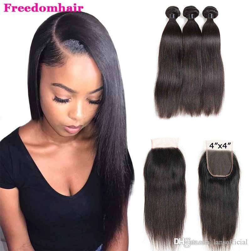 Droit 3 Bundles du Brésil avec fermeture Remy Human Bundles cheveux avec fermeture droite Bundles avec dentelle 4x4 fermeture Remy Hair Tissages