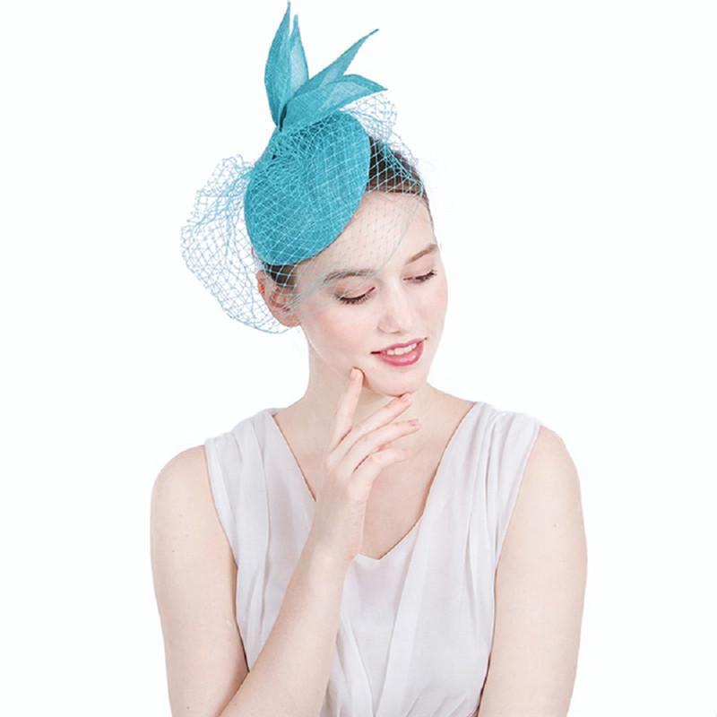 La cara grande de malla estilo coreano nupcial azul velo de lino encaje del Arco-nudo del velo de pelo moda de la boda accesorios hechos a mano banquetes Celada