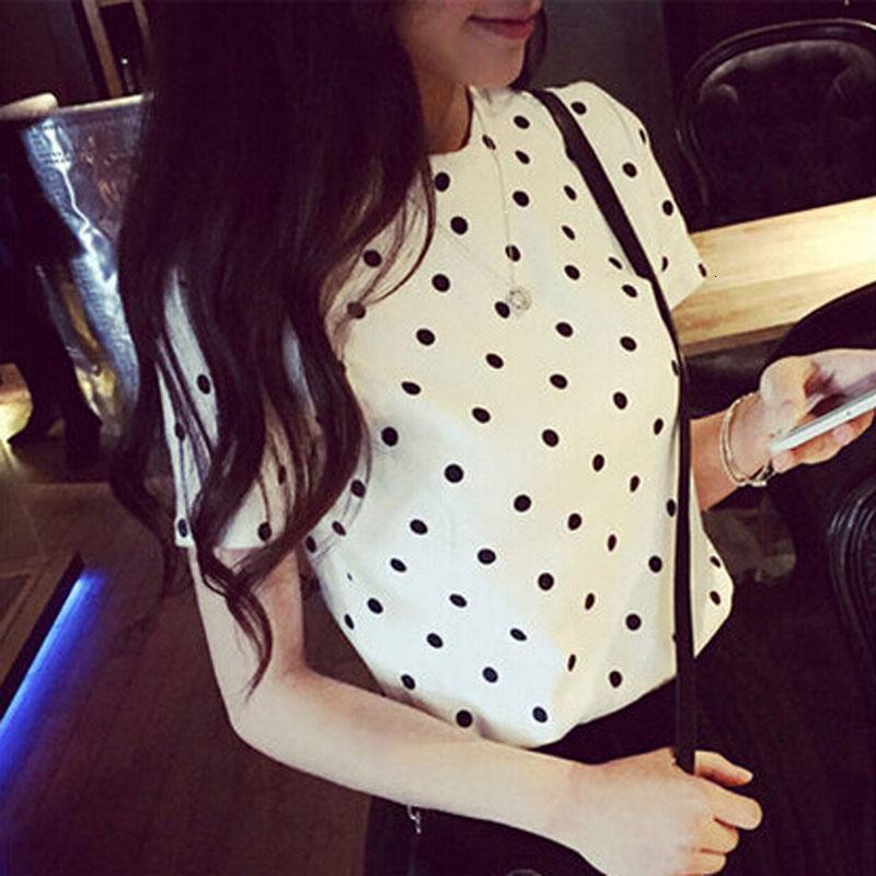 Womens Top Donna Maglie Designer pois a maniche corte con scollo a V stile estivo fresco Tee Femme girocollo maglietta Camiseta Mujer