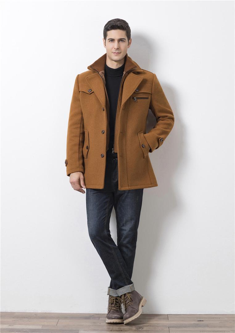 Slim Pardessus Designer Laine laine d'hiver épais Homme Blends Hauts Mode solide avec double cou Man