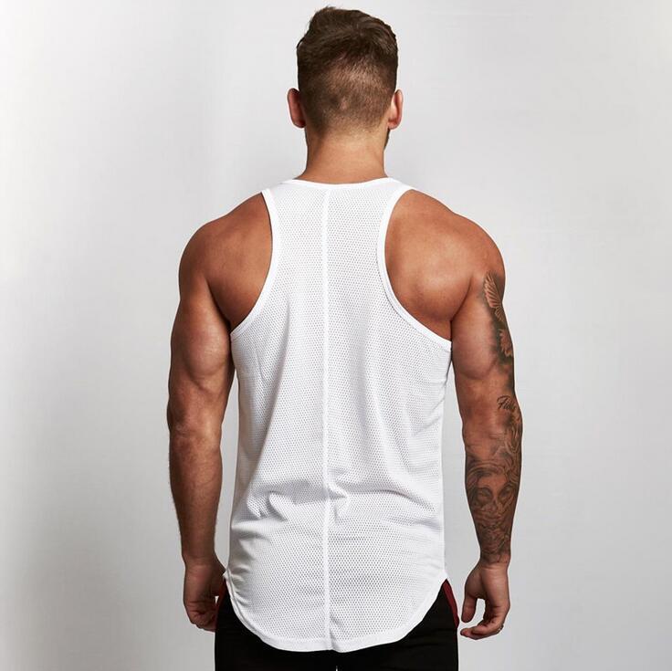 Оптово-Shirt Хлопок Gym Fitness Футболка мужская брендовая одежда Спортивная футболка Мужской Compression тренировки верхней части бака рукавов Running Vest