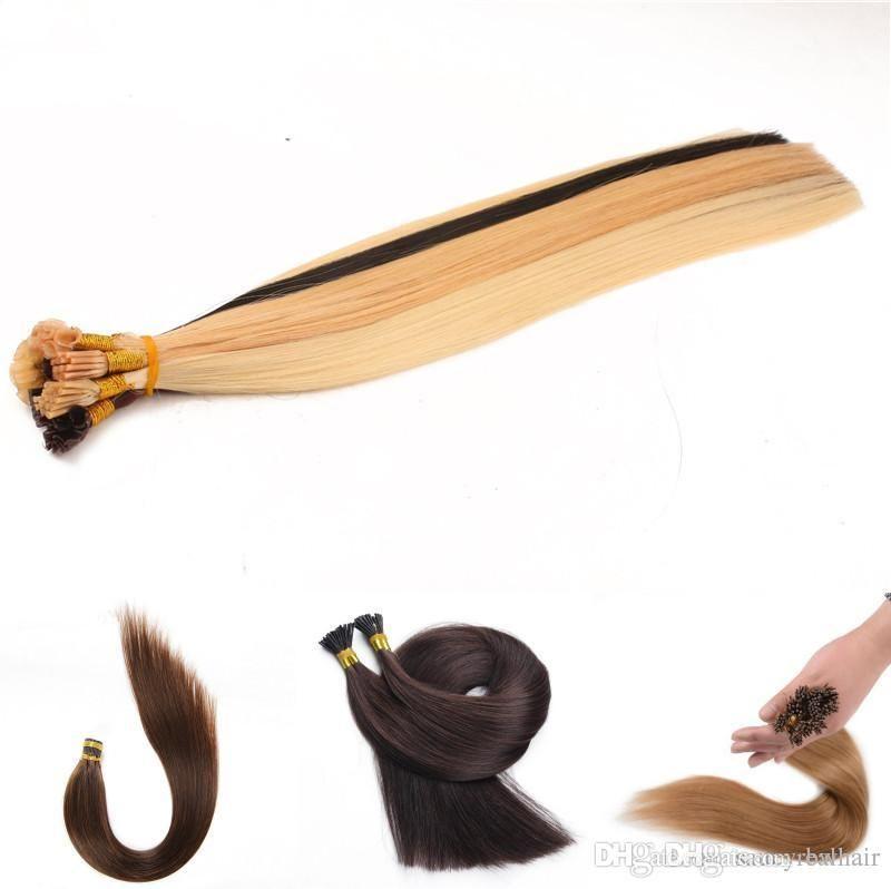 Nizza Qualität 300Strands 300gr Satz Vor-verbundene brasilianische Remy Menschenhaar-Verlängerung Stock-I-Spitze-Verlängerung schwarz braun blond Farbe Option
