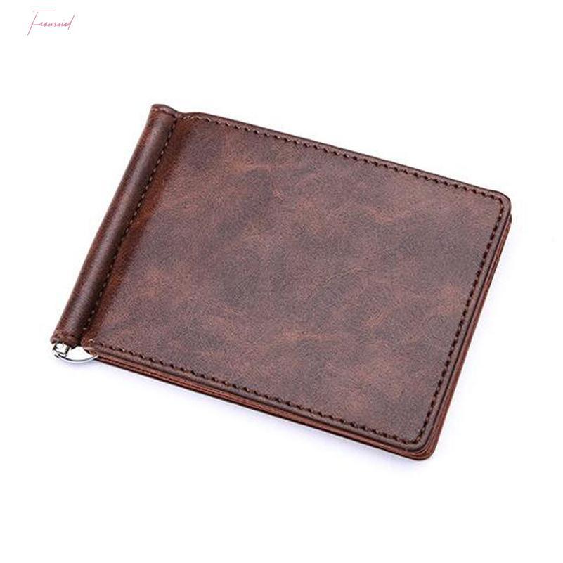 العلامة التجارية الجديدة الصلبة بسيطة البسيطة رجال محفظة من الجلد المال كليب مع حامل المشبك سليم محفظة بطاقة فتحات النقدية للرجل