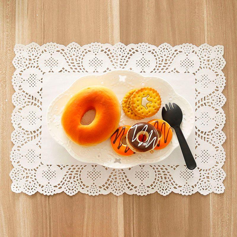 Paper Lace Doilies Rectangle 30x40cm 25x35cm White Decorative Tableware Placemats Cake Packaging Paper Pads Mats 100pcs Y200328